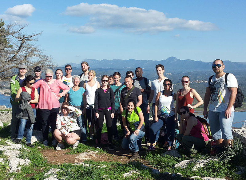 Students and teachers in the 2014 year's course in the medieval fort of Palaea Navarino high above the Bay of Navarino.