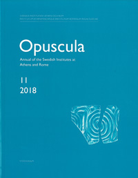 <p>Annual of the Swedish Institutes at Athens and Rome, vol. 11, 2018.</p>