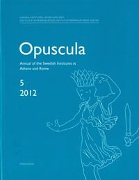 <p>Annual of the Swedish Institutes at Athens and Rome, vol. 5, 2012.</p>