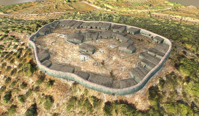 Fig. 5: 3D-reconstruction of the settlement shortly after the construction of the fortification wall, including several domestic structures, a central (administrative?) building, a possible burial monument and terraces.