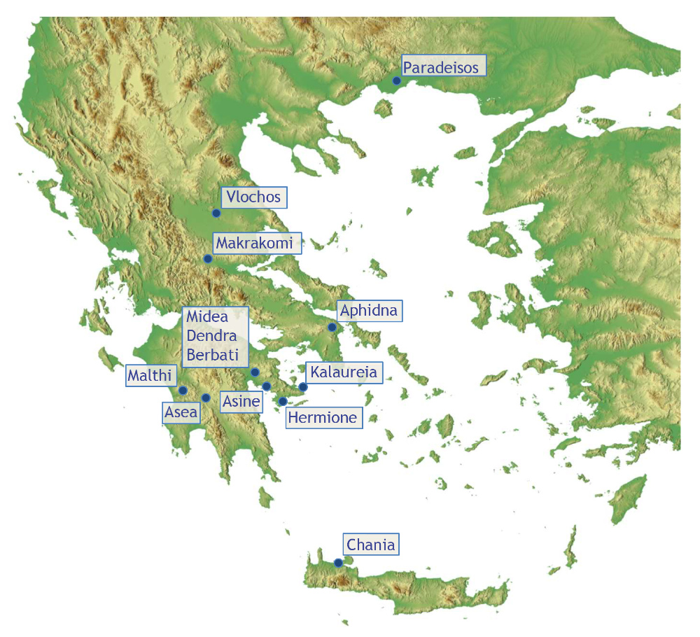 <p>Map showing the location of fieldwork conducted by the Swedish Institute at Athens</p>